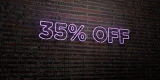 35% WEG - realistische Leuchtreklame auf Backsteinmauerhintergrund - 3D übertrug freies Archivbild der Abgabe Stockbild