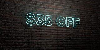 $35 WEG - realistische Leuchtreklame auf Backsteinmauerhintergrund - 3D übertrugen freies Archivbild der Abgabe Stockfotografie
