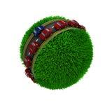 Weg rond een grasrijke bol Stock Foto's