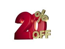 20% weg in Rood en gouden Royalty-vrije Stock Afbeelding
