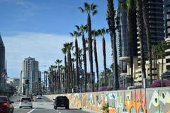 Weg in Stad van San Diego California met palmen en straatmarkeringen Royalty-vrije Stock Foto