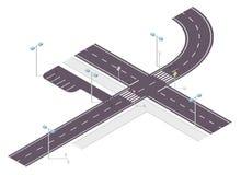 Weg, straatverkeer, grafische informatie, crossway verbinding over wit Illustratie van kruispunten hoofd en zijweg Stock Foto's