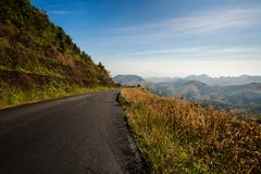 Weg tot bovenkant van Berg in Platteland Stock Fotografie