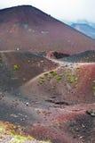 Weg tussen de kraters van Etna Royalty-vrije Stock Foto's