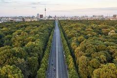 Weg tussen groene bomen in Berlijn Stock Fotografie
