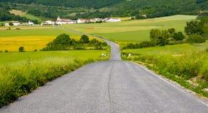 Weg tussen landbouwbedrijven die naar de stad van Arteta gaat royalty-vrije stock foto