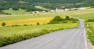 Weg tussen landbouwbedrijven die naar de stad van Arteta gaat stock foto's