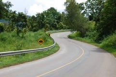 Weg van de de weg de scherpe S-curve van het asfalt Stock Fotografie