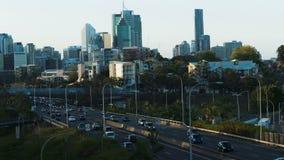 Weg van het de stads de gouden uur van Brisbane stock footage