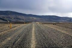 Weg van het Straitght de vulkanische grint in IJsland stock foto's