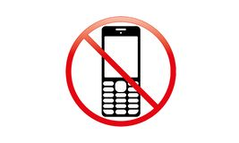 Weg vom mobilen Zeichen-Schalter weg von der Telefon-Ikone kein Telefon erlaubtes bewegliches Warnsymbol lizenzfreie abbildung