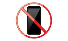 Weg vom mobilen Zeichen-Schalter weg von der Telefon-Ikone kein Telefon erlaubtes bewegliches Warnsymbol stock abbildung