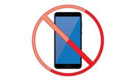 Weg vom mobilen Zeichen-Schalter weg von der Telefon-Ikone kein Telefon erlaubtes bewegliches Warnsymbol vektor abbildung