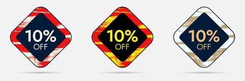 10 weg vom Rabatt-Aufkleber 10 weg von der Verkaufs-und Händlerpreis-Fahne Vektor Abbildung