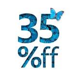 35% weg vom Rabatt Das Konzept des Frühlinges oder des sammer Verkaufs, stilvolles Plakat, Fahne, Förderung, Anzeigen stock abbildung