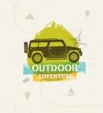 Weg vom Straßen-Abenteuer-Vektor-Illustrations-im Freien rauen Konzept auf Schmutz-Hintergrund Stockbilder