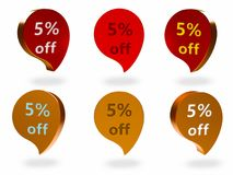 5% weg vom Zeichen lizenzfreie abbildung