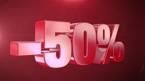 -50% weg von den Verkaufs-Animations-Förderungen im roten Text-nahtlos loopable Hintergrund lizenzfreie abbildung