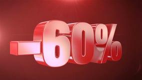 -60% weg von den Verkaufs-Animations-Förderungen im roten Text-nahtlos loopable Hintergrund stock footage