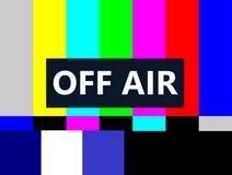 Weg von der Farbleisten-Fernsehtestseite der Luft SMPTE Stockfoto