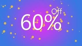 60% weg von der grafischen Illustration des fördernden Verkaufsangebots im purpurroten und blauen Farbhintergrund stockfotografie
