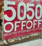 50% weg von der Verkaufszeichenfahne Stockfoto