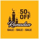 50% WEG VON Schablone Ramadans Kareem Sale Banner Lizenzfreie Stockbilder