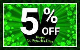 5% WEG VON Verkauf glücklichem StPatrick-Tag vektor abbildung