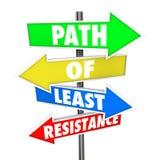 Weg von Wort-Pfeil-Zeichen des geringsten Widerstandes vermeiden Konflikt nehmen EA Lizenzfreies Stockbild
