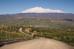 Weg voor onderstel Etna stock afbeeldingen