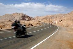 Weg in woestijn, Atacama, Chili Royalty-vrije Stock Foto's