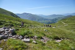 Weg zum Ben Nevis-Gipfel Stockfotos
