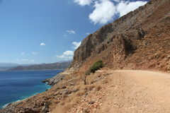 Weg zur schönen Bucht von Balos in Kreta lizenzfreies stockfoto