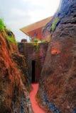 Weg zwischen Bete Amanuel und Bete Abba Libanos roch-gehauenen Kirchen, Lalibela, Äthiopien Lizenzfreie Stockfotos