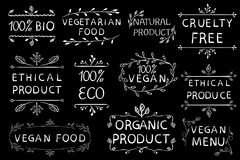 100 weganinów etyczny produkt cruetly uwalnia Roczników ręka rysujący elementy białe linie Fotografia Royalty Free