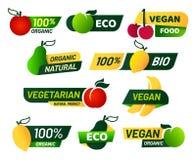 Weganin etykietki Zielony eco jedzenie, zdrowi świezi organicznie produkty i jarski emblemat, przylepiamy etykietkę wektoru set royalty ilustracja