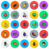 Weganin karmowa ikona ustawiająca na Round tle Zdjęcia Royalty Free