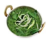 Weganinu i jarosza indyjska kuchnia rozdaje, zielona szpinak polewka Zdjęcie Royalty Free