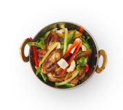Weganinu i jarosza indyjski restauracyjny naczynie, smażąca paneer sałatka odizolowywająca Obraz Royalty Free