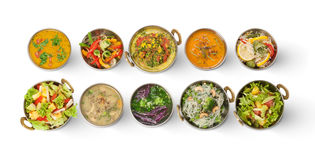 Weganinu i jarosza indyjskiej kuchni gorący korzenni naczynia Zdjęcie Stock
