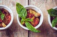 Weganinu jedzenie: trzy talerza piec na grillu warzywa Obraz Royalty Free