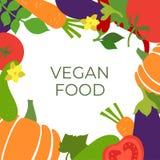Weganinu jedzenie Warzywa nakreślenia menu rama Ręka rysujący koloru projekta wektorowy szablon Organicznie zdrowy rynek Świeży p ilustracja wektor