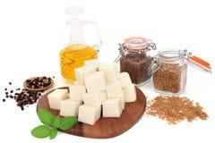 Weganinu jedzenie z Tofu Bobowym Curd zdjęcie royalty free