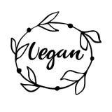 Weganinu ręka rysujący logo, etykietka z kwiecistą ramą Wektorowa ilustracja eps 10 dla jedzenia i napoju, restauracje, menu, życ Fotografia Royalty Free