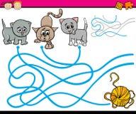 Wege oder Labyrinthkarikaturspiel Lizenzfreies Stockbild