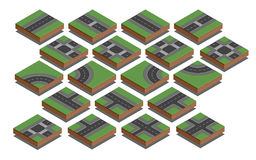 Wegelementen De verwezenlijkingsuitrusting van de stadskaart Isometrische Vectorillustratie Stock Afbeeldingen
