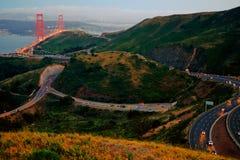 Wegen dichtbij Golden gate bridge Stock Afbeelding