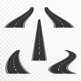Wegen met noteringen Rechte en gebogen asfaltwegen in perspectief royalty-vrije illustratie