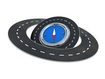 Wegen rond kompas royalty-vrije illustratie