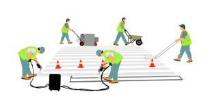Wegenbouwarbeider die gestreepte kruisingsteken op stadsstraat schilderen De technische arbeiders van de wegmens royalty-vrije illustratie